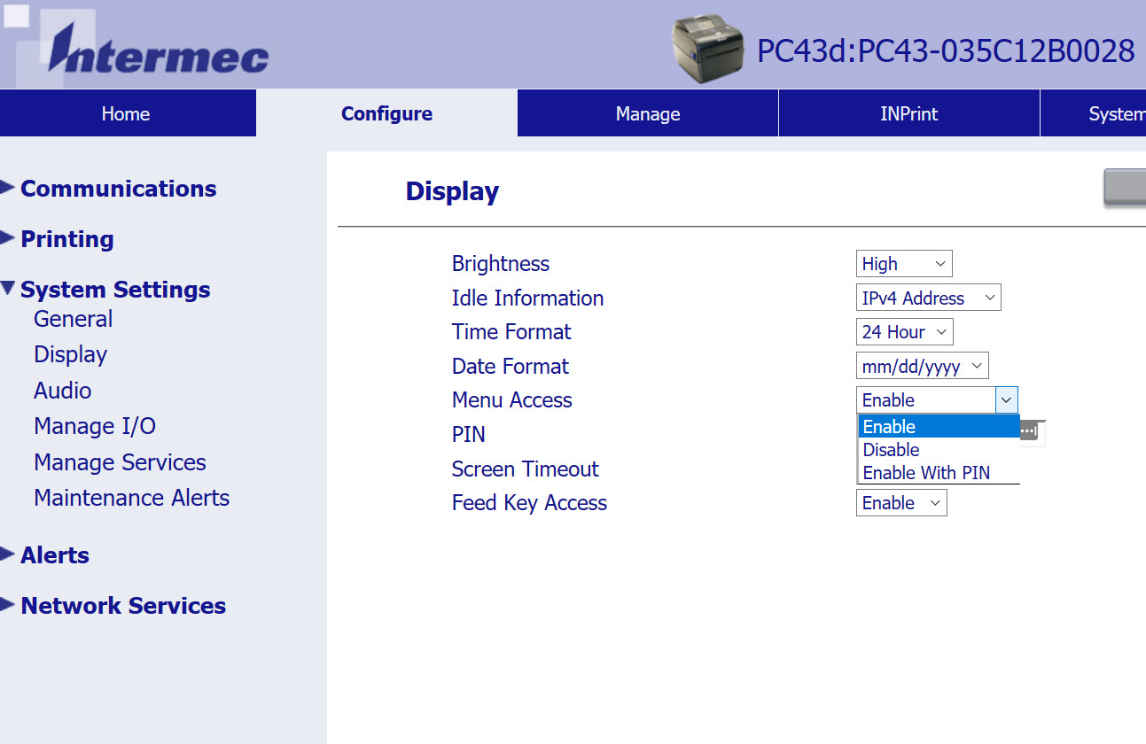 PC series printer web interface